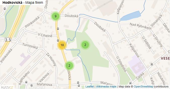 Hodkovická - mapa rozložení firem v ulici.