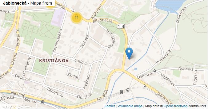 Jablonecká - mapa rozložení firem v ulici.