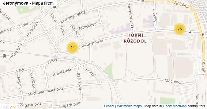 Jeronýmova - mapa rozložení firem v ulici.