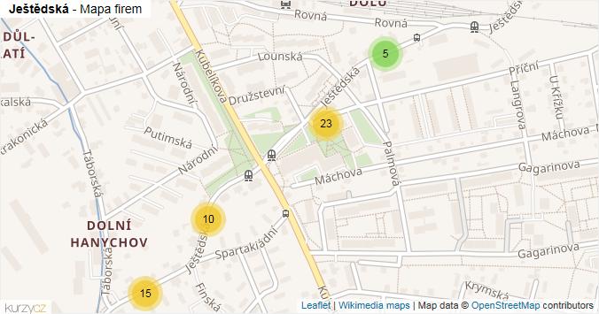 Ještědská - mapa rozložení firem v ulici.