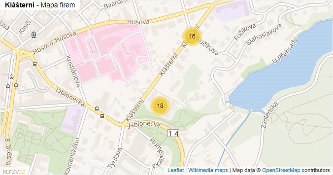 Klášterní - mapa rozložení firem v ulici.