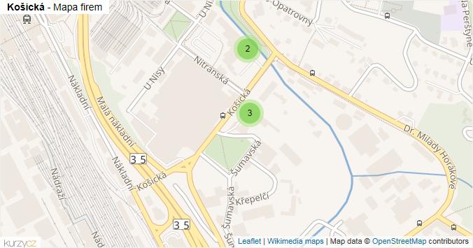Košická - mapa rozložení firem v ulici.