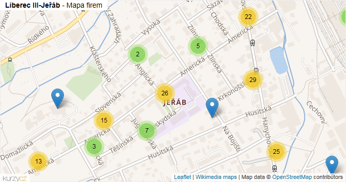 Liberec III-Jeřáb - mapa rozložení firem v části obce.