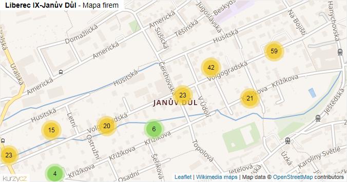 Liberec IX-Janův Důl - mapa rozložení firem v části obce.