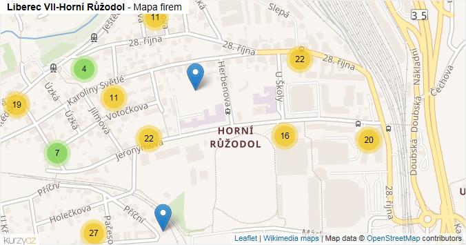 Liberec VII-Horní Růžodol - mapa rozložení firem v části obce.
