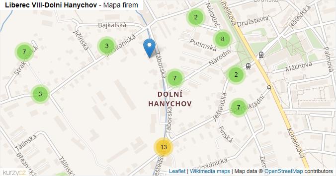 Liberec VIII-Dolní Hanychov - mapa rozložení firem v části obce.