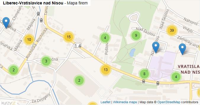 Liberec-Vratislavice nad Nisou - mapa rozložení firem v městské části.