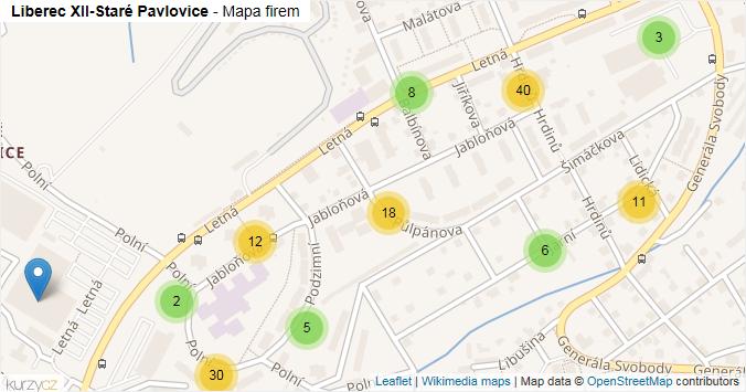 Liberec XII-Staré Pavlovice - mapa rozložení firem v části obce.