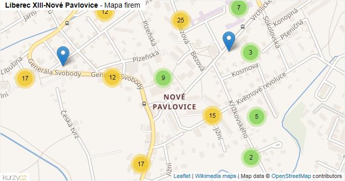 Liberec XIII-Nové Pavlovice - mapa rozložení firem v části obce.