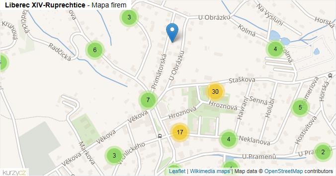 Liberec XIV-Ruprechtice - mapa rozložení firem v části obce.