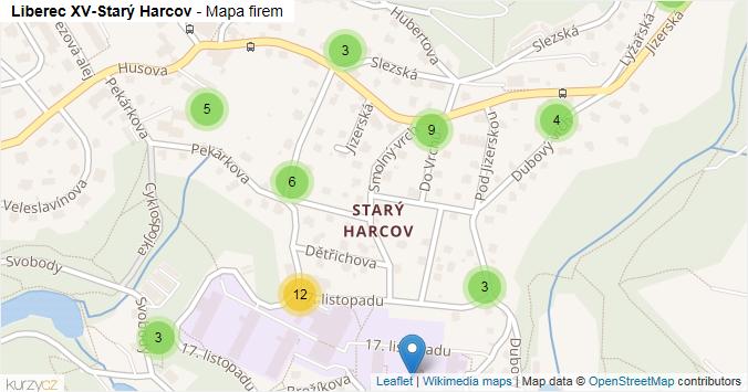 Liberec XV-Starý Harcov - mapa rozložení firem v části obce.
