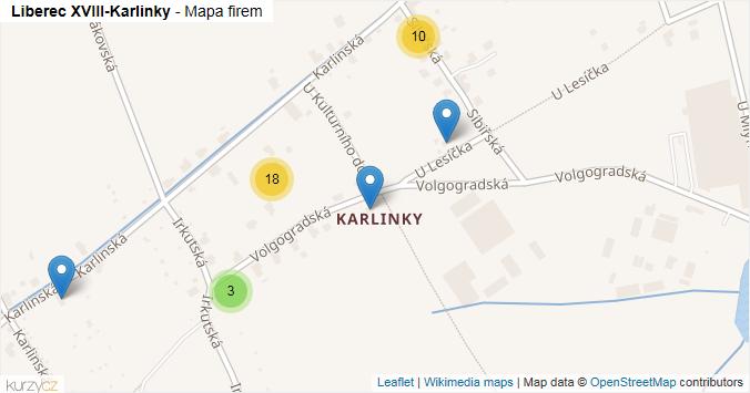 Liberec XVIII-Karlinky - mapa rozložení firem v části obce.