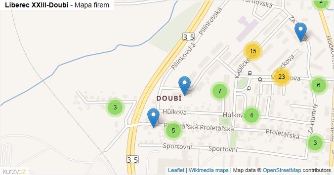Liberec XXIII-Doubí - mapa rozložení firem v části obce.
