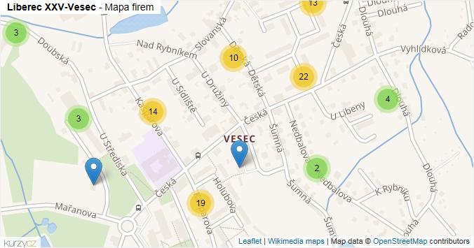Liberec XXV-Vesec - mapa rozložení firem v části obce.