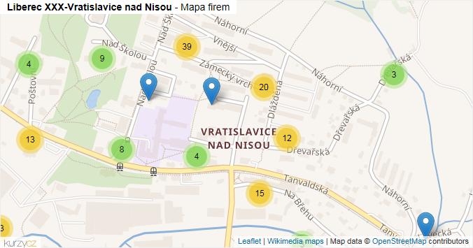 Liberec XXX-Vratislavice nad Nisou - mapa rozložení firem v části obce.
