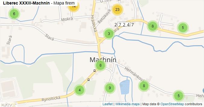 Liberec XXXIII-Machnín - mapa rozložení firem v části obce.