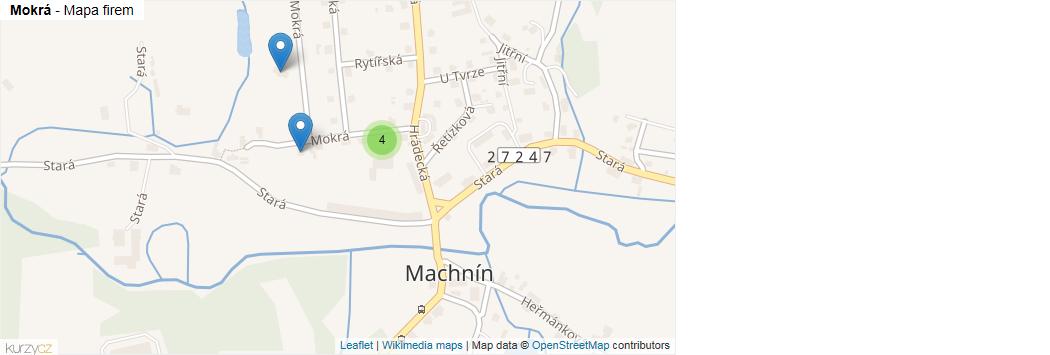 Mokrá - mapa rozložení firem v ulici.