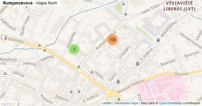 Rumjancevova - mapa rozložení firem v ulici.