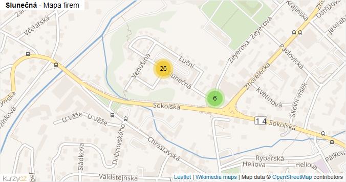 Slunečná - mapa rozložení firem v ulici.