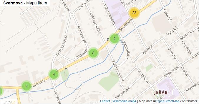Švermova - mapa rozložení firem v ulici.