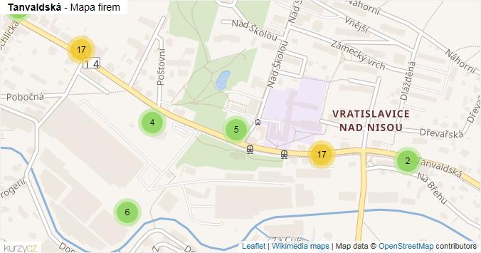 Tanvaldská - mapa rozložení firem v ulici.