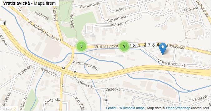 Vratislavická - mapa rozložení firem v ulici.