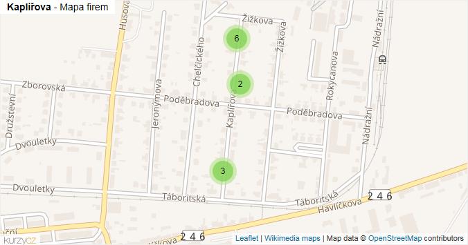 Kaplířova - mapa rozložení firem v ulici.
