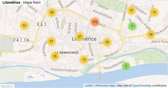 Litoměřice - mapa rozložení firem v obci.