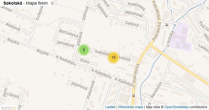 Sokolská - mapa rozložení firem v ulici.