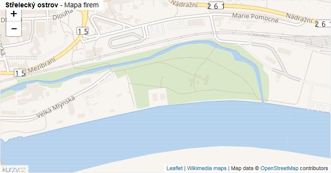 Střelecký ostrov - mapa rozložení firem v ulici.