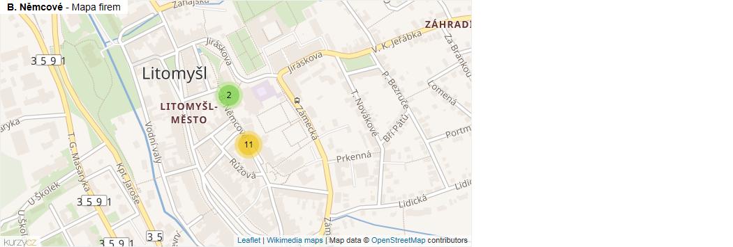 B. Němcové - mapa rozložení firem v ulici.