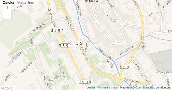 Osická - mapa rozložení firem v ulici.