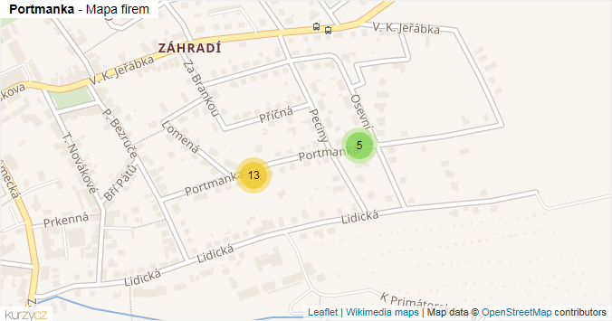 Portmanka - mapa rozložení firem v ulici.