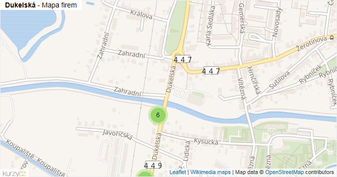 Dukelská - mapa rozložení firem v ulici.