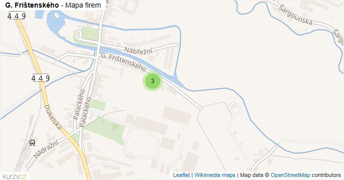 G. Frištenského - mapa rozložení firem v ulici.