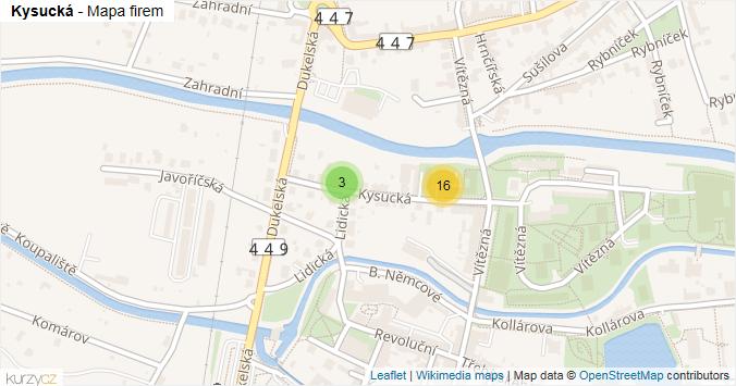 Kysucká - mapa rozložení firem v ulici.