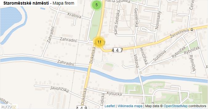 Staroměstské náměstí - mapa rozložení firem v ulici.