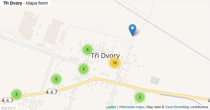 Tři Dvory - mapa rozložení firem v části obce.