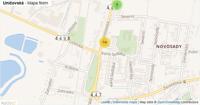 Uničovská - mapa rozložení firem v ulici.