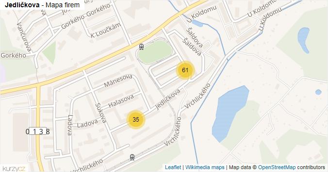 Jedličkova - mapa rozložení firem v ulici.