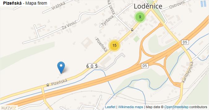 Plzeňská - mapa rozložení firem v ulici.