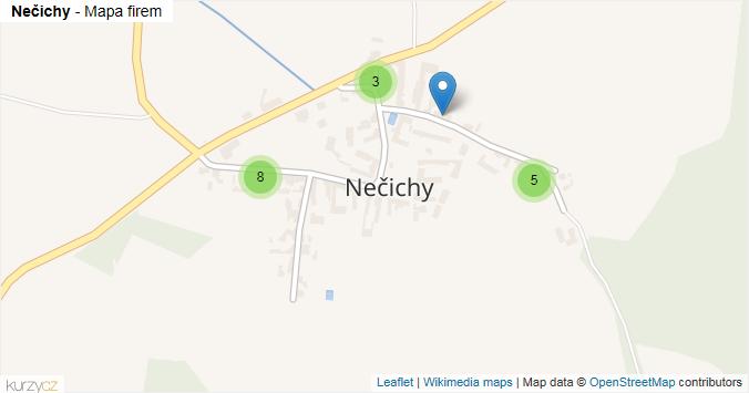 Nečichy - mapa rozložení firem v části obce.