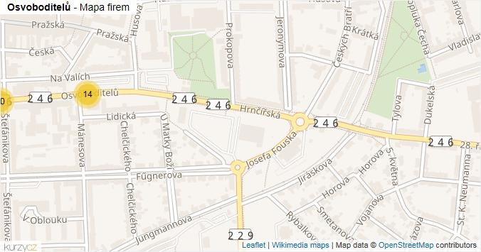 Osvoboditelů - mapa rozložení firem v ulici.