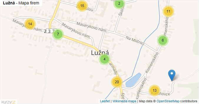Lužná - mapa rozložení firem v obci.