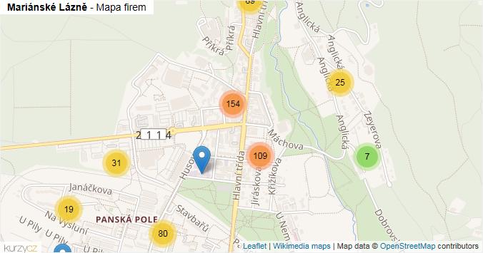 Mariánské Lázně - mapa rozložení firem v obci.