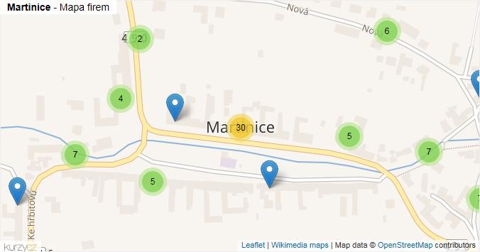 Martinice - mapa rozložení firem v obci.