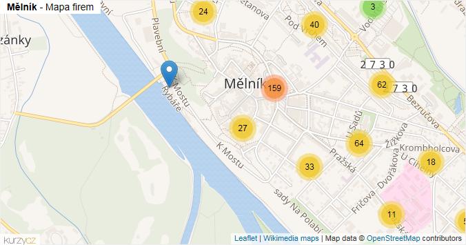 Mělník - mapa rozložení firem v obci.