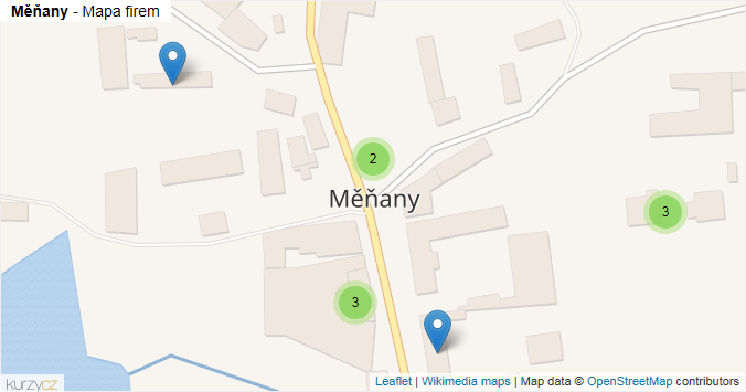 Měňany - mapa rozložení firem v obci.
