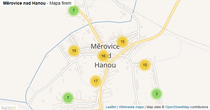 Měrovice nad Hanou - mapa rozložení firem v části obce.
