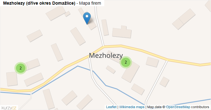 Mezholezy (dříve okres Domažlice) - mapa rozložení firem v obci.